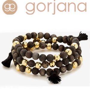 Gorjana Hannah Druzy Tassel Black Wrap Bracelet
